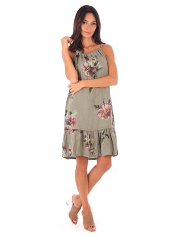 100% LIN Lniana sukienka w kolorze khaki