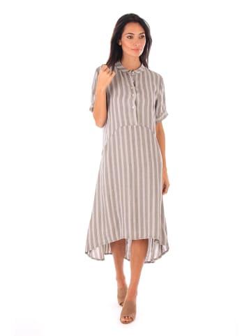 100% LIN Leinen-Kleid in Taupe