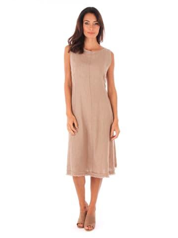 100% LIN Lniana sukienka w kolorze szarobrązowym