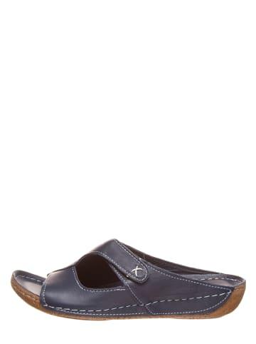 Andrea Conti Leren slippers donkerblauw