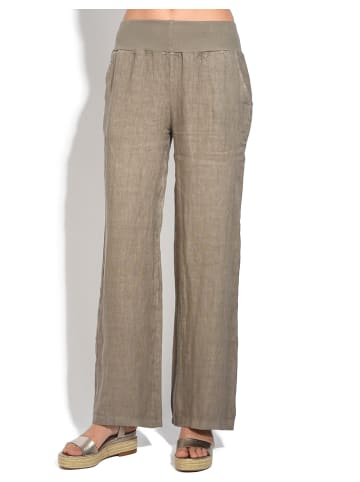 Le Jardin du Lin Lniane spodnie w kolorze szarobrązowym