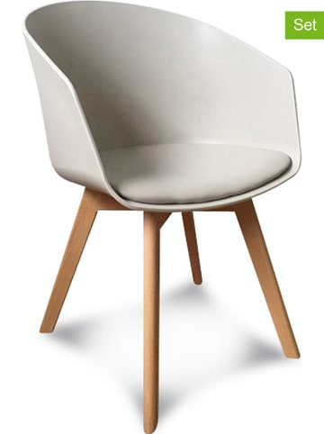 """Deco Lorrie 2er-Set: Armstühle """"Scandinave"""" in Taupe - (B)51 x (H)78 x (T)53,5 cm"""