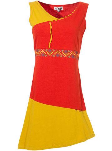 KÉAWA Kleid in Rot/ Gelb