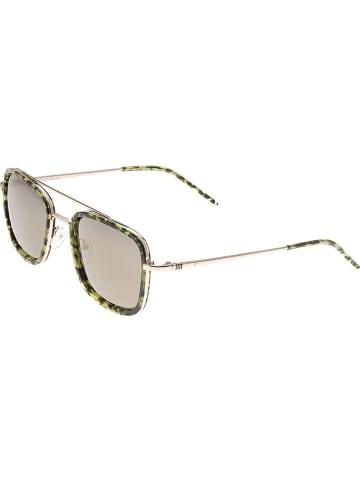 """Sixty One Damskie okulary przeciwsłoneczne """"Orient"""" w kolorze zielono-brązowo-złotym"""