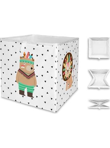 """Mr Little Fox Vouwbox """"Indian Bear"""" wit/meerkleurig - (B)32 x (H)32 x (D)32 cm"""