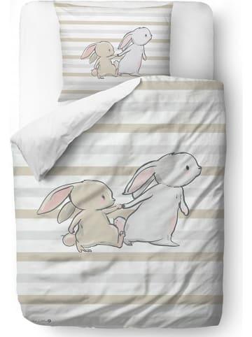 """Mr Little Fox Satijnen beddengoedset """"Bunny brothers"""" beige"""
