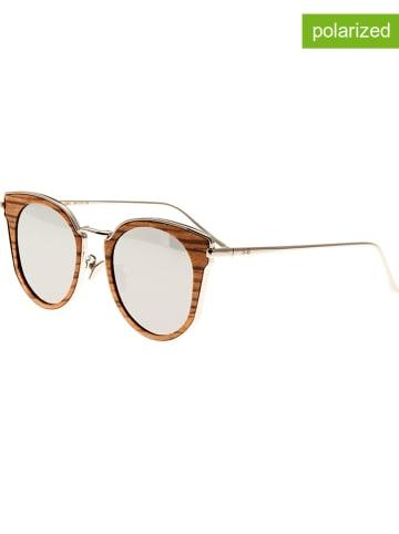 """Earth wood Okulary przeciwsłoneczne unisex """"Karekare"""" w kolorze brązowo-srebrnym"""