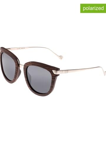 """Earth wood Okulary przeciwsłoneczne unisex """"Nissi"""" w kolorze brązowo-srebrno-czarnym"""