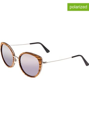 """Earth wood Okulary przeciwsłoneczne unisex """"Oreti"""" w kolorze brązowo-srebrno-fioletowym"""