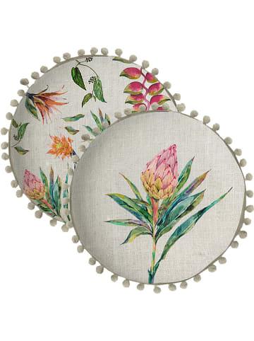 "Madre Selva Kissen ""Flores Salvajes"" in Creme/ Bunt - Ø 45 cm"