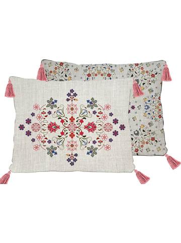 "Madre Selva Kissenhülle ""Flowers Tapestry"" in Creme/ Bunt - (L)50 x (B)35 cm"