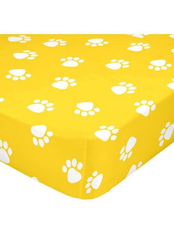 """Mr. Fox Prześcieradło """"Dogs"""" w kolorze żółtym na gumce"""