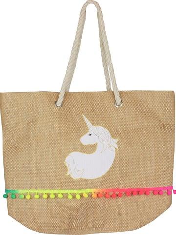 "Garden Spirit Shopper ""Unicorn"" in Natur - (B)55 x (H)38 x (T)20 cm"