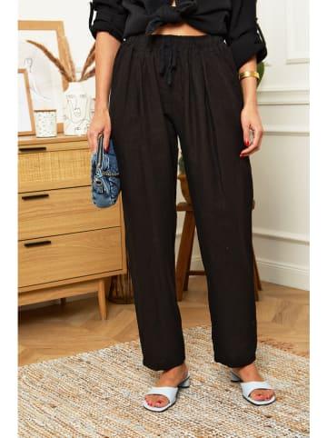 Le Monde du Lin Lniane spodnie w kolorze czarnym