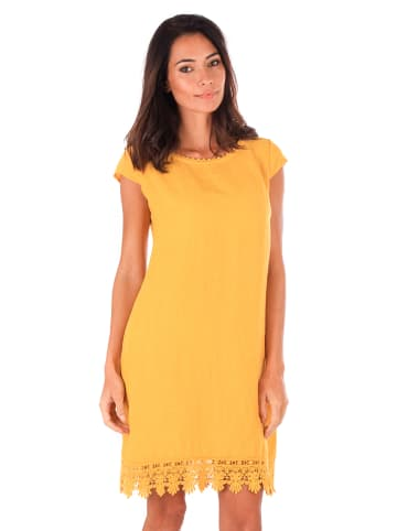 100% LIN Leinen-Kleid in Senf