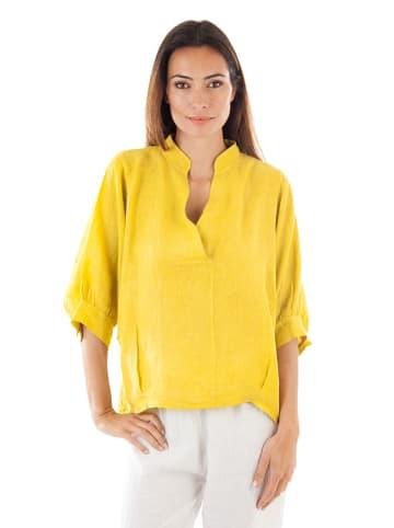 100% LIN Linnen blouse geel