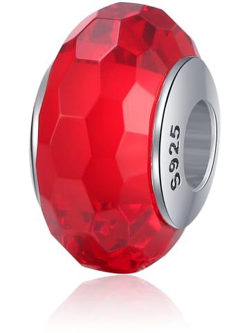 "MAISON D'ARGENT Srebrno-szklany koralik ""Facets"" w kolorze czerwonym"
