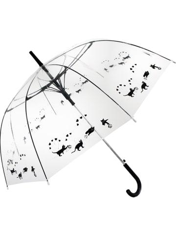 """Le Monde du Parapluie Stockschirm """"Cats"""" in Transparent/ Schwarz - Ø 100 cm"""
