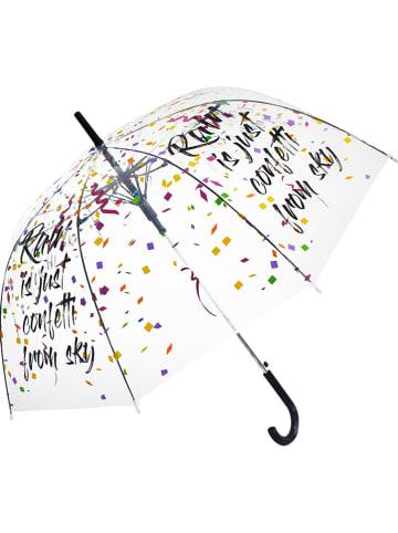 """Le Monde du Parapluie Stockschirm """"Confetti"""" in Transparent/ Schwarz/ Bunt - Ø 100 cm"""