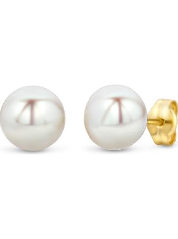 Revoni Złote kolczyki-wkrętki z perłami