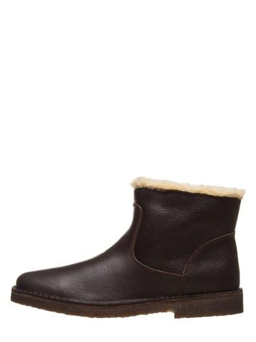 Kmins woman Leder-Ankle-Boots in Dunkelbraun