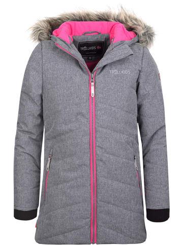 """Trollkids Kurtka narciarska """"Lifjell"""" w kolorze szaro-różowym"""