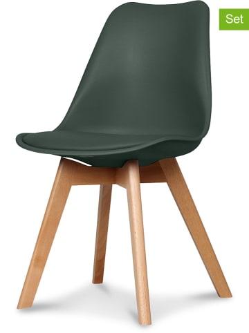 """Deco Lorrie Krzesła (2 szt.) """"Scandinave"""" w kolorze ciemnozielonym - 48 x 83 x 43 cm"""