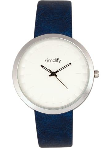 "Simplify Kwartshorloge ""The 6000"" donkerblauw/zilverkleurig/wit"