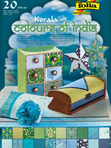 """Folia Natuurpapier """"Colours of India - Kerala"""" blauw/groen - 20 vellen - A4"""