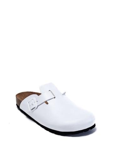 Mandel Leder-Clogs in Weiß