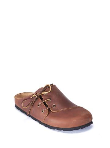 Mandel Leren clogs bruin