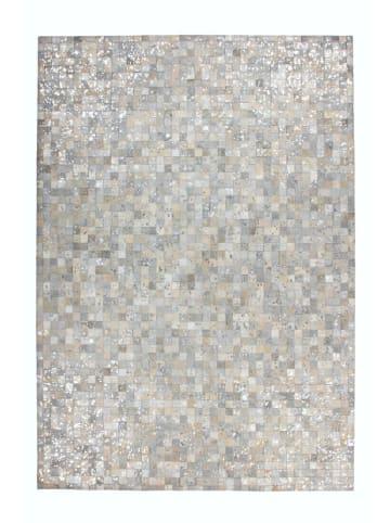 Arte Espina Leren tapijt grijs/zilverkleurig