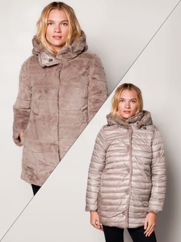 Winter Selection Omkeerbare wintermantel taupe