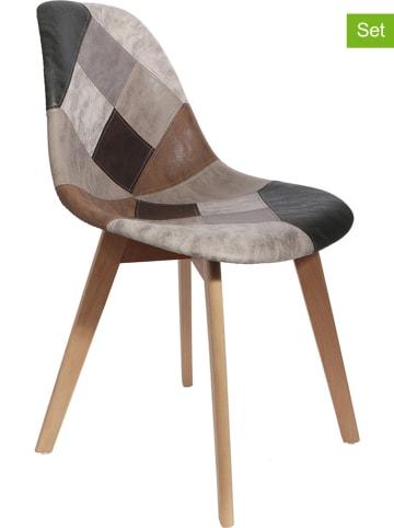THE HOME DECO FACTORY 2-delige set: eetkamerstoelen bruin/grijs - (B)46 x (H)85 x (D)55 cm