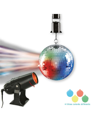 The Concept Factory 2tlg. Set: Diskokugel & Projektor in Silber/ Schwarz