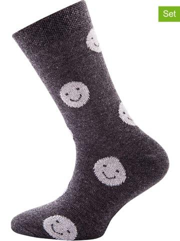 "Ewers 2er-Set: Socken ""Smiley Glitzer"" in Grau"