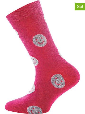 """Ewers 2-delige set: sokken """"Smiley Glitter"""" roze"""