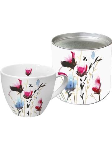 """Tee-Zeit mit ppd Jumbotasse """"Cornflowers Mix"""" in Pink/ Blau - 400 ml"""