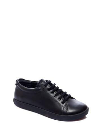 Comfortfusse Leren sneakers zwart
