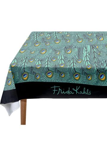 "Madre Selva Tafellaken ""Peacock Feathers"" groen - (L)140 x (B)140 cm"