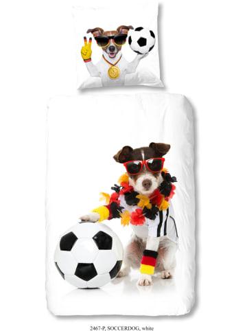 """Good Morning Beddengoedset """"Soccerdog"""" wit"""