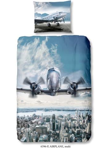 """Good Morning Bettwäsche-Set """"Airplane"""" in Blau"""