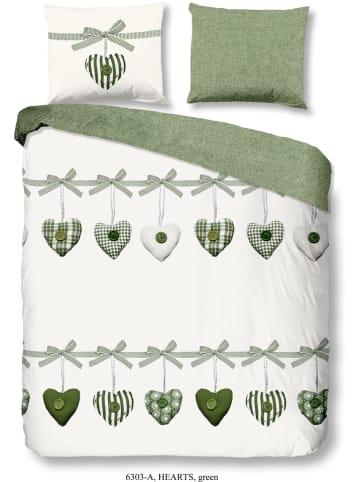 """Good Morning Komplet pościeli """"Hearts"""" w kolorze biało-zielonym"""