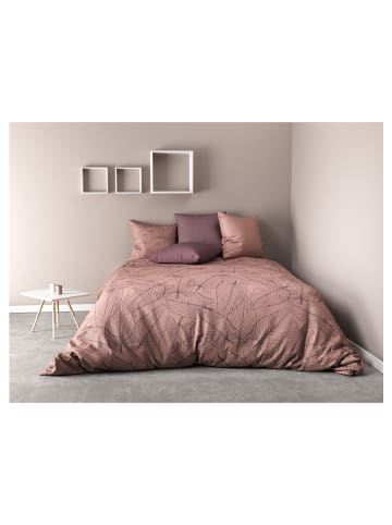 """My Home Perkal beddengoedset """"Feuille"""" oudroze"""