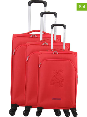 "Lulu Castagnette 3-delige softcase-trolleyset ""Teddy Bear"" rood"