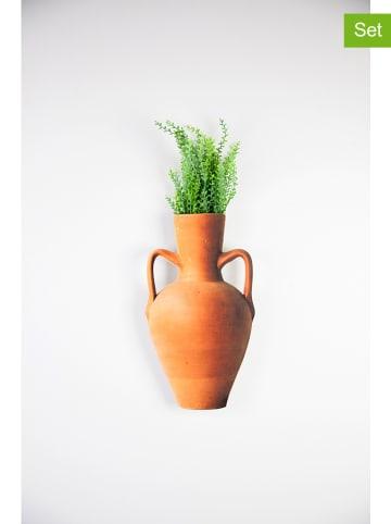 "Surdic 2tlg. Set: Bepflanztes Deko-Gefäß ""Vessel"" in Orange - (B)30 x (H)30 cm"