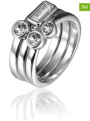 METROPOLITAN 3tlg. Set: Weißvergold. Ringe mit Swarovski Kristallen
