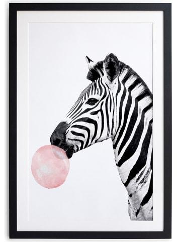 "Little nice things Druk artystyczny ""Zebra Bubble Gum"" w ramce - 40 x 60 cm"