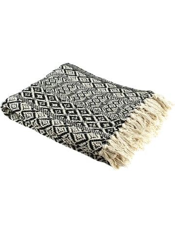 Ethnical Life Katoenen plaid zwart/crème - (L)150 x (B)120 cm