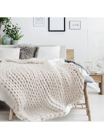 THE HOME DECO FACTORY Plaid in Creme - (L)150 x (B)120 cm